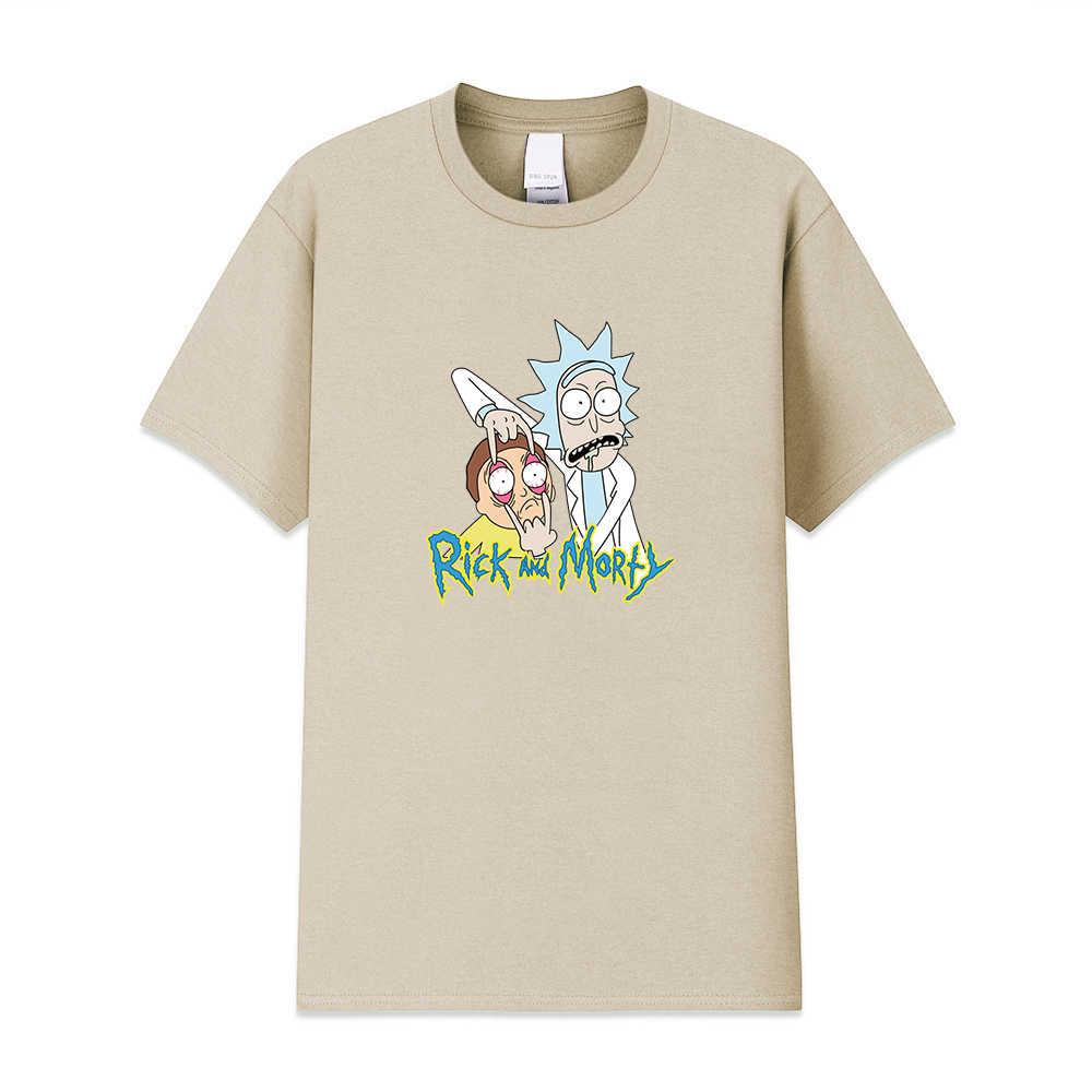 Di alta qualità degli uomini T-Shirt 100% cotone girocollo sciolto rick e morty stampato da uomo Maglietta casuale lavorato a maglia mens t-shirt top