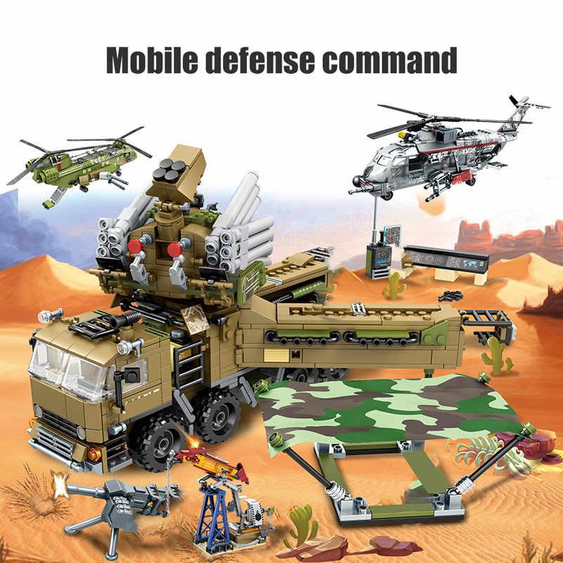 Modelo de helicóptero SEMBO SWAT Team WW2, bloques de construcción, camión tanque militar, figuras de policía de ciudad, juguetes para niños