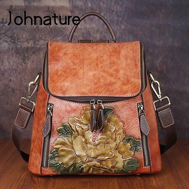 Johnature rétro en cuir véritable à fleurs de haute qualité femmes sac à dos de luxe 2020 nouveau sac à dos de voyage en peau de vache grande capacité