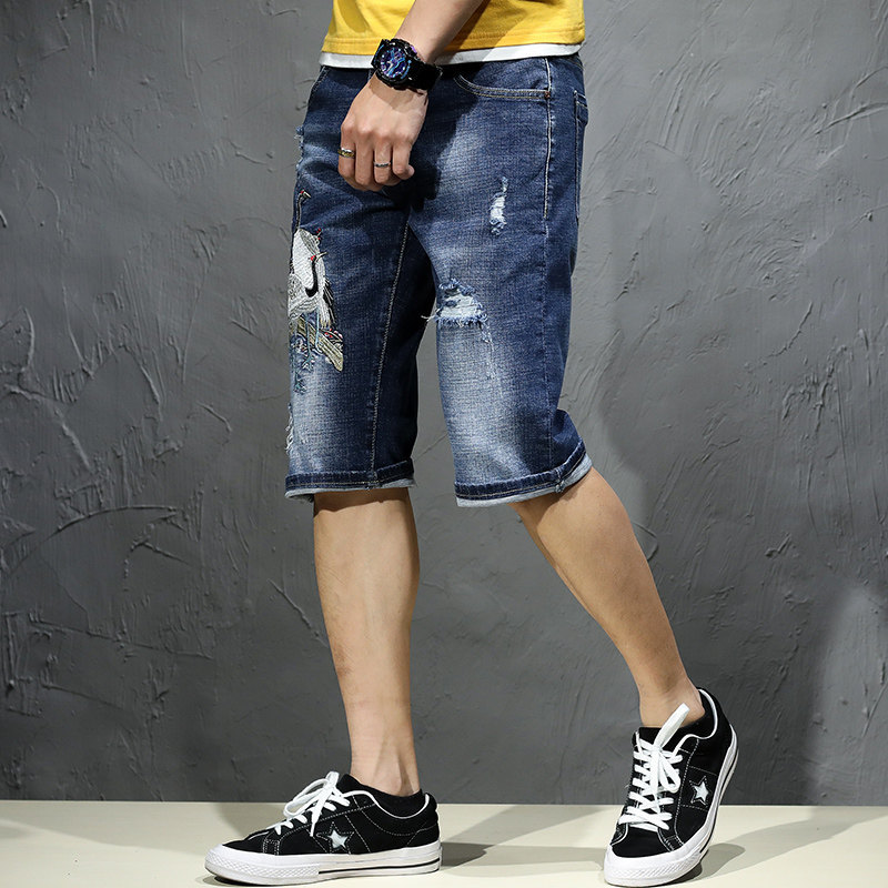 Summer Hot Pants Men Embroidery Ripped Hole Knee Length Jeans Short Plus Size 44 Street Style Riding Casual Denim Shorts Jeans