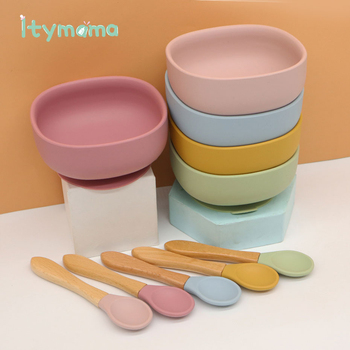 Nowe kolory miska do karmienia niemowląt Food Grade miseczka silikonowa talerz dla dzieci antypoślizgowa z przyssawkami miska dla dzieci zastawa stołowa wodoodporna BPA Free Spoon