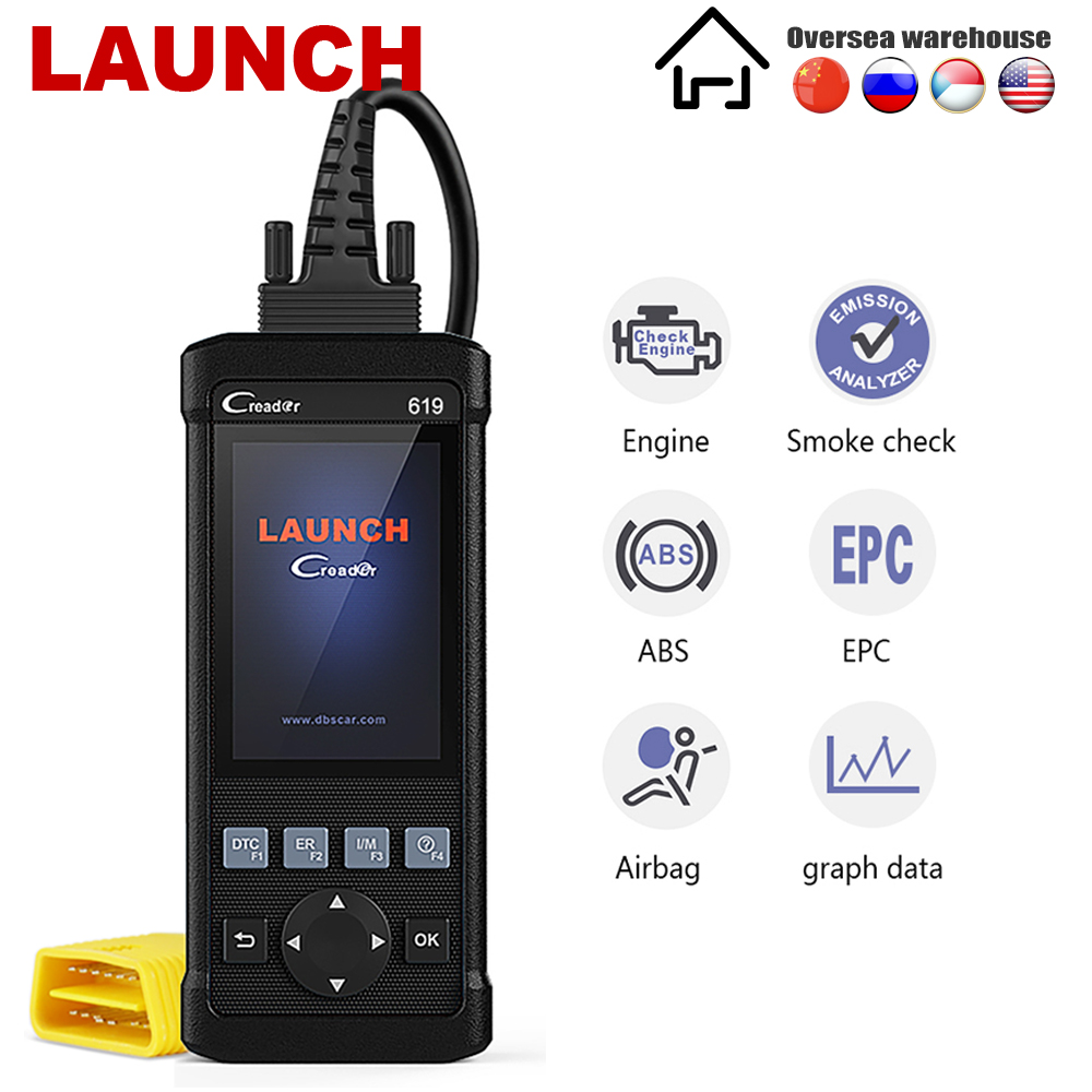 Launch CR619 OBD2 Scanner Engine ABS SRS Automotive Scanner Live Data Launch Creader Car Diagnostic Tool ODB2 OBD 2 Diagnosis