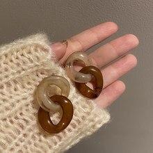 Moda geometryczny Gradient brązowy akrylowy kolczyki z łańcuszka dla kobiet dziewczyna impreza zimowa żywica komunikat dynda kolczyk biżuteria 2020