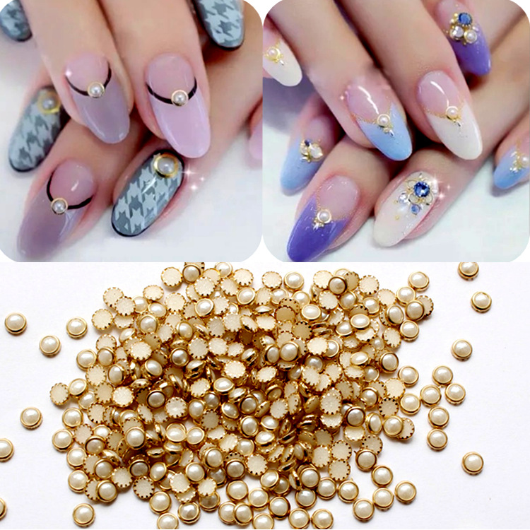 100 Stars Loaded Japanese-style Nail Ornament Covered Edge Pearl White AB Mixed Color Pearl Nail Sticker Decorations Wholesale