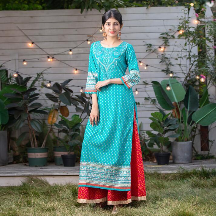 2020 India Fashion Woman Ethnic Styles Print Sets Cotton Lehenga Choli Blue Elegent Lady Top Pants