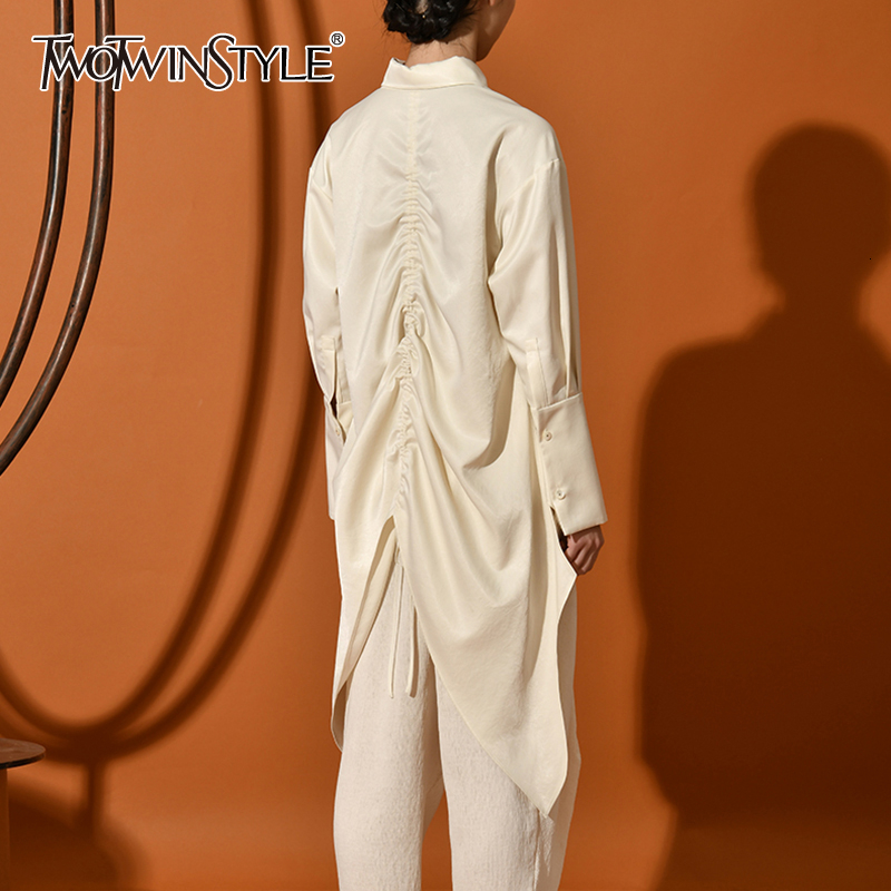 TWOTWINSTYLE Casual Loose Irregular Women's Blouses Lapel Collar Long Sleeve Asymmetrical Shirts For Female Fashion 2020 Clothes