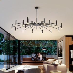 Image 2 - Lustre de decoração moderna, lustre de luminária preto com design criativo para sala de estar e sala de jantar