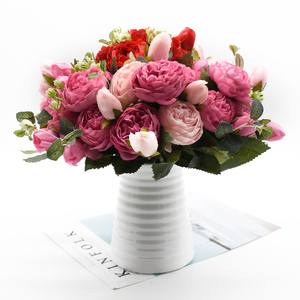 30cm Rose Pink Silk Peony Artificial Flowers Bouquet 5 Big Head and 4 Bud Cheap Fake Flowers for Home Wedding Decoration in door