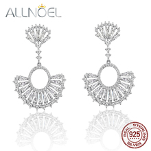 ALLNOEL 925 Sterling Silver Earrings White Zircon Diamond Earrings for Women Scalloped Real Gold White Gold Plated Fine Jewelry