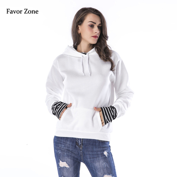 Striped Patchwork Hoodies Women Sweatshirt Autumn Winter Thick Fleece Warm Pullover Hoodie Solid Color Casual Loose Hooded Tops women solid color plush hooded sweatshirt autumn winter long sleeve loose warm hoodies coat pockets casual fashion outwear tops