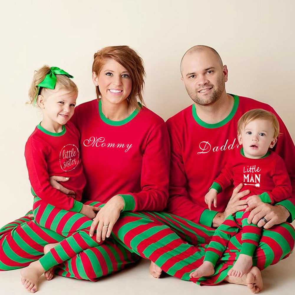 Newly Family Matching Christmas Pajamas Long Sleeve Tops Striped Pants Sleepwear Set Parent-Child Homewear DO99