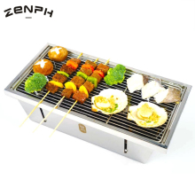 Zenph Picnic BBQ Portable Grill Stainless Steel Folding Barbecue Stove Hiking Camping Charcoal Grill Stove все цены
