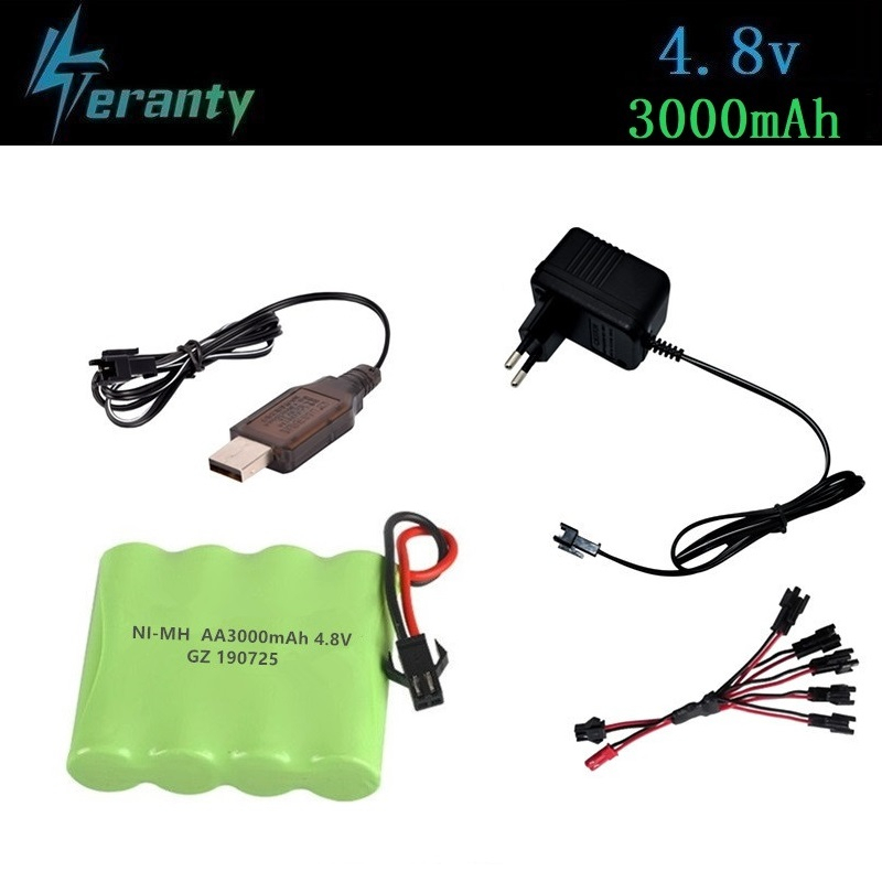 ( SM Plug ) 4.8v 3000mah NiMH Battery + Charger For Rc Toys Cars Tanks Robots Boats Guns Ni-MH AA 4.8v Rechargeable Battery Pack