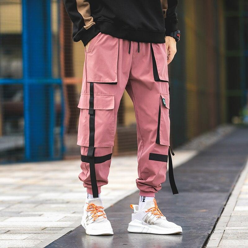 2019 Men Harem Pink Pants Mens Casual Joggers Baggy RIbbon Tactical Cargo Trousers Harajuku Streetwear Hip Hop Pants LBZ169