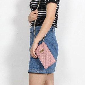 Image 2 - Echtes Leder Mode Designer Telefon Geldbörse Mini Schulter Tasche Qualität Schaffell Kleine Klappe Taschen Frauen Umhängetasche Messenger Taschen