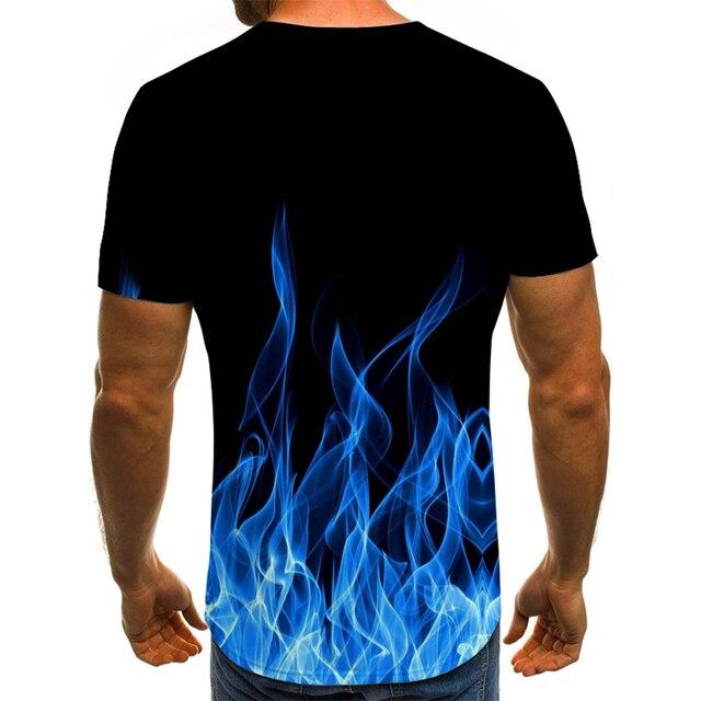 2020 new flame men's T-shirt summer fashion short-sleeved 3D round neck tops smoke element shirt trendy men's T-shirt 2