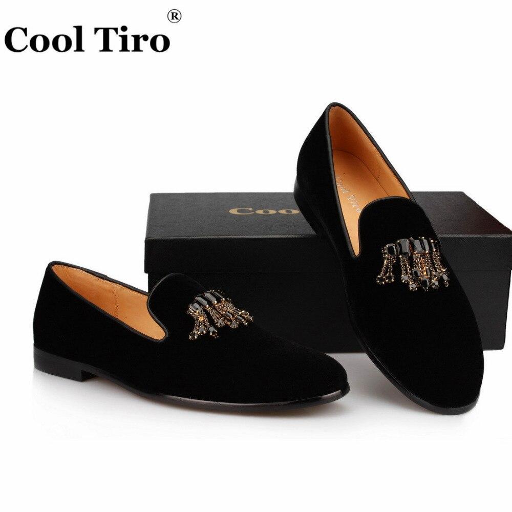 Velvet Loafers Crystal tassels Slippers (9)