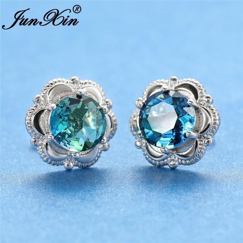 Mystic Green Blue Zircon Flower Stud Earrings White Gold Rose Gold Colorful Rainbow Fire Crystal Round Wedding Earrings Women
