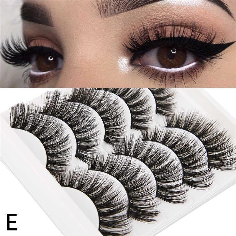 5 paires 3D Faux vison cheveux doux Faux cils moelleux vaporeux longs cils épais à la main doux cils maquillage Extension outils