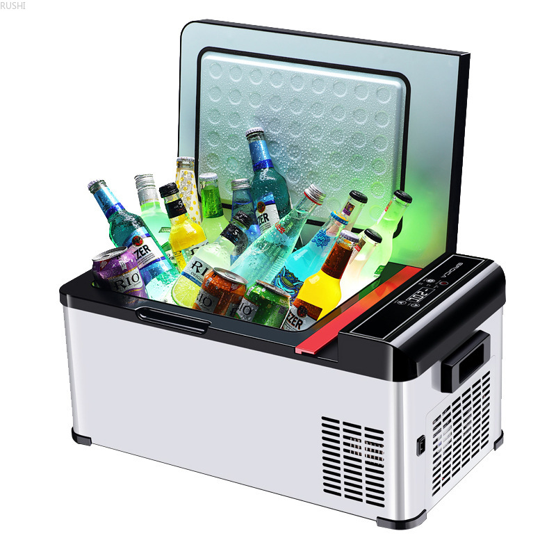 DC 12V 24V Home Car Dual Use Portable Mini Fridge Small Camping Car Compressor Refrigerator Mini Cooling Box Car Refrigerator