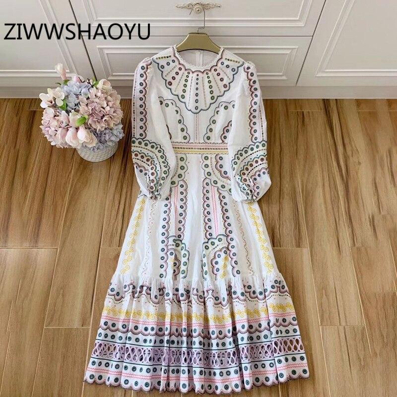 Женское льняное платье с разноцветной вышивкой ZIWWSHAOYU, длинное богемное платье с рукавами фонариками и оборками на подоле, лето 2019|Платья|   | АлиЭкспресс