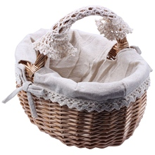 Wicker Basket Rattan Storage Basket Box Picnic Basket Fruit Flower Baskets With Lid And Handle And White Liner For Camping #Co wicker rattan storage basket box picnic basket fruit flower baskets outdoor picnic wicker gift basket party wedding decoration