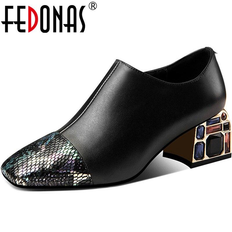 FEDONAS New Women Prom Square Toe Pumps Spring Summer Rhinestone Glitters Shoes Genuine Leather Elegant Shoes Woman