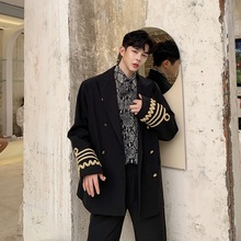 Men Vintage Double Breasted Loose Casual Suit Blazer Coat Uniform Male Streetwea