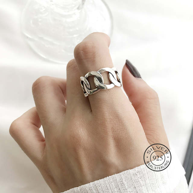 Real 925 Sterling Silver Chain Hollow Ring For Fashion Women Party Punk Fine Jewelry Minimalist Accessories 2020 Gift