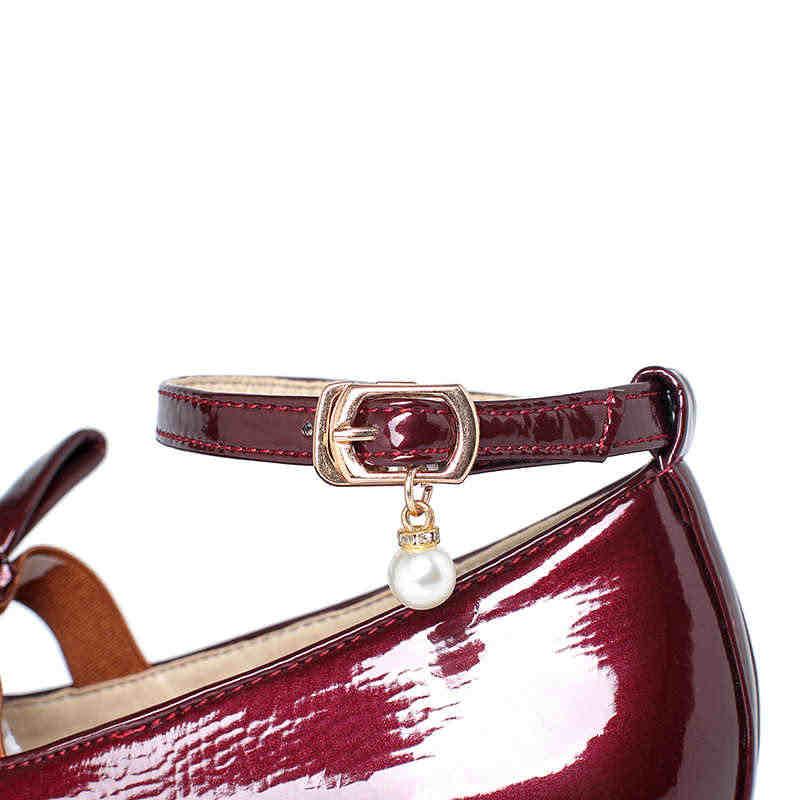 Odetina ผู้หญิงใหม่สายคล้องคอโบว์เย็บลื่น Lolita รองเท้าผู้หญิงรอบ Toe สายคล้องข้อเท้าคริสตัลสิทธิบัตรหนังรองเท้าสบายๆ