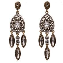 Korean Earrings for Women Dangle Earring Hanging Luxury Water Drop Fashion Jewelry Rhinestone Vintage Gold/Silver Tone цена 2017