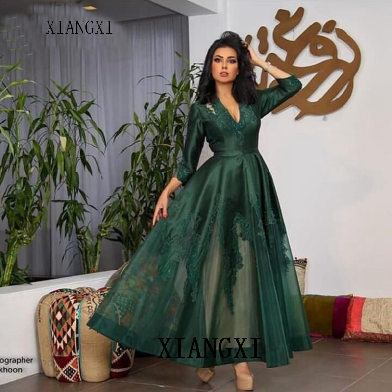 Col En V Robe De Soiree 2020 Vert Dubai Caftan Robes De Soiree Longue Abendkleider Abiye Robes De Soiree Evening Dresses Aliexpress