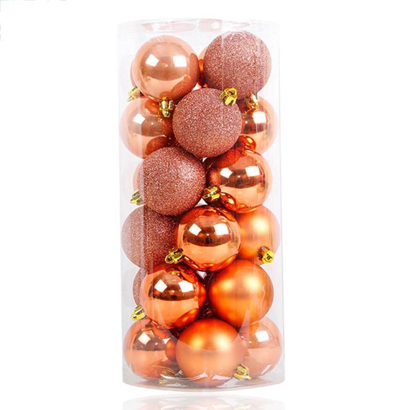 24pcs/1pcs Christmas Tree Balls Pendants Rose Gold Xmas Party Wedding Baubles Hanging Ornament Festival DIY Decoration