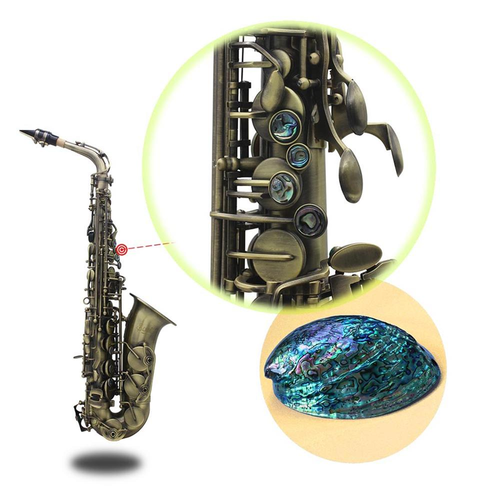 LADE de Alto grado antiguo Eb E flat Alto saxofón abulón cáscara clave tallado patrón con caso guantes correas boquilla - 6