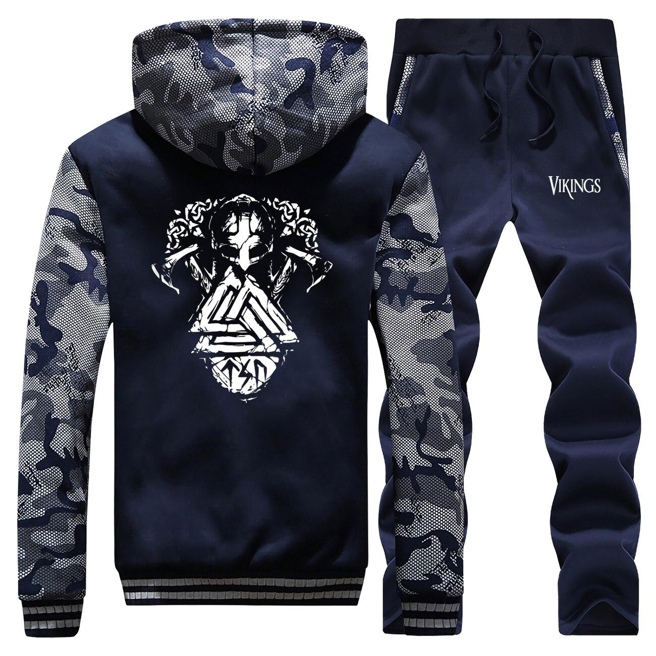 Winter 2019 Streetwear Mens Casual Raglan Hoodie Camouflage Vikings Retro Printed Coat Thick Suit Hooded+Sweatpants 2 Piece Set