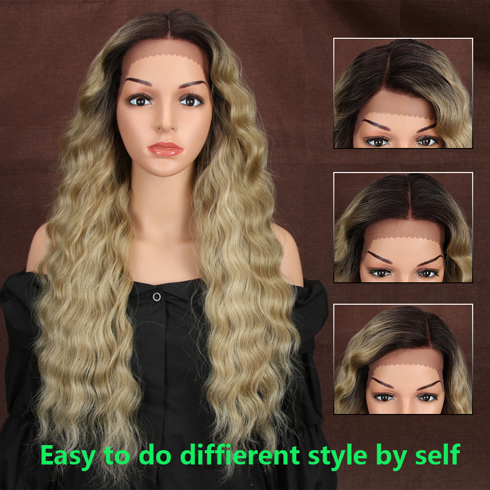 13X4 Synthetic Lace Front Wigs For Black Women 27Inch Long Deep Natural Wave Ombre Blonde 99J Color Hair