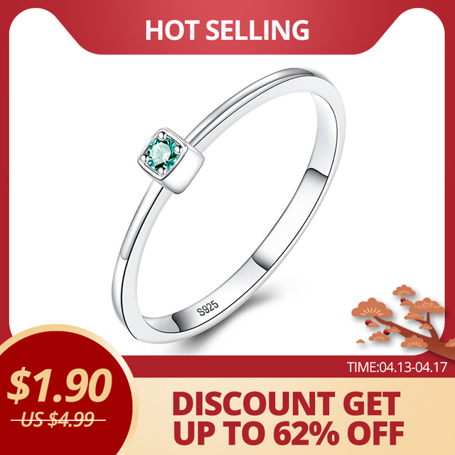 CZCITY Genuine 925 Sterling Silver VVS Green Topaz Wedding Rings for Women Minimalist Thin Circle Gem Rings Jewelry Carving S925 1