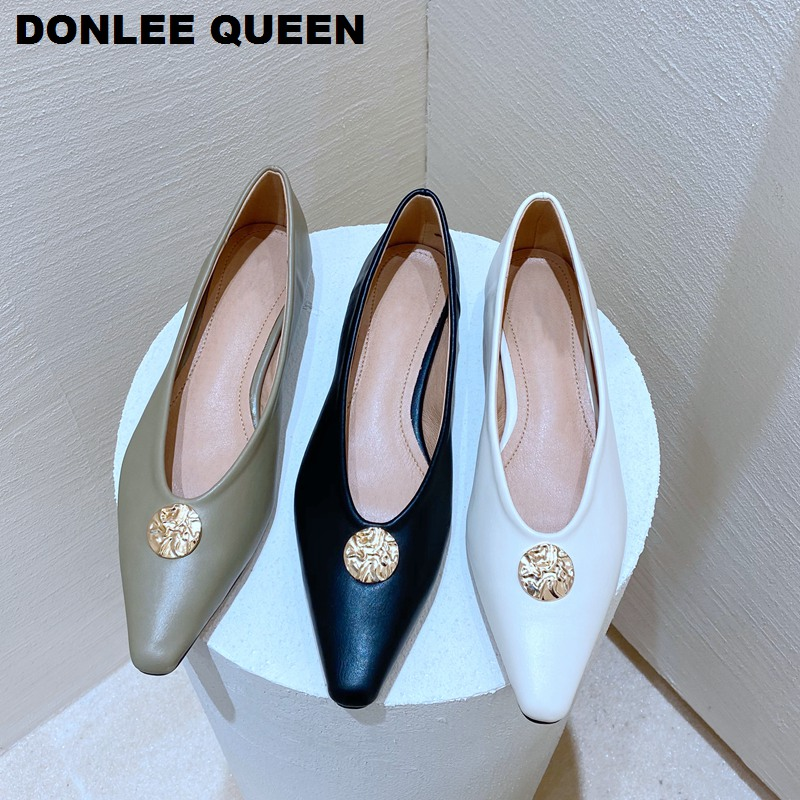 Flats Shoes Women Low Low Heel Ballet Pointed Toe Shallow Buckle Brand Shoes Slip On Loafers Female Work Shoes  Zapatos De Mujer