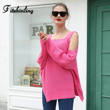 Fitshinling Open Shoulder Oversized Sweater Female 2019 Loose Solid Pink Pullovers Women's Sweaters Winter Autumn Knitted Jumper strappy open shoulder jumper