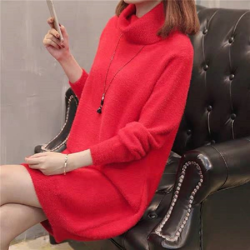 High Collar Women's Sweater Hooded Water Jacket Velvet Pink Winter Sweater Woman New 2019 Long Section Bottoming Knit Dress