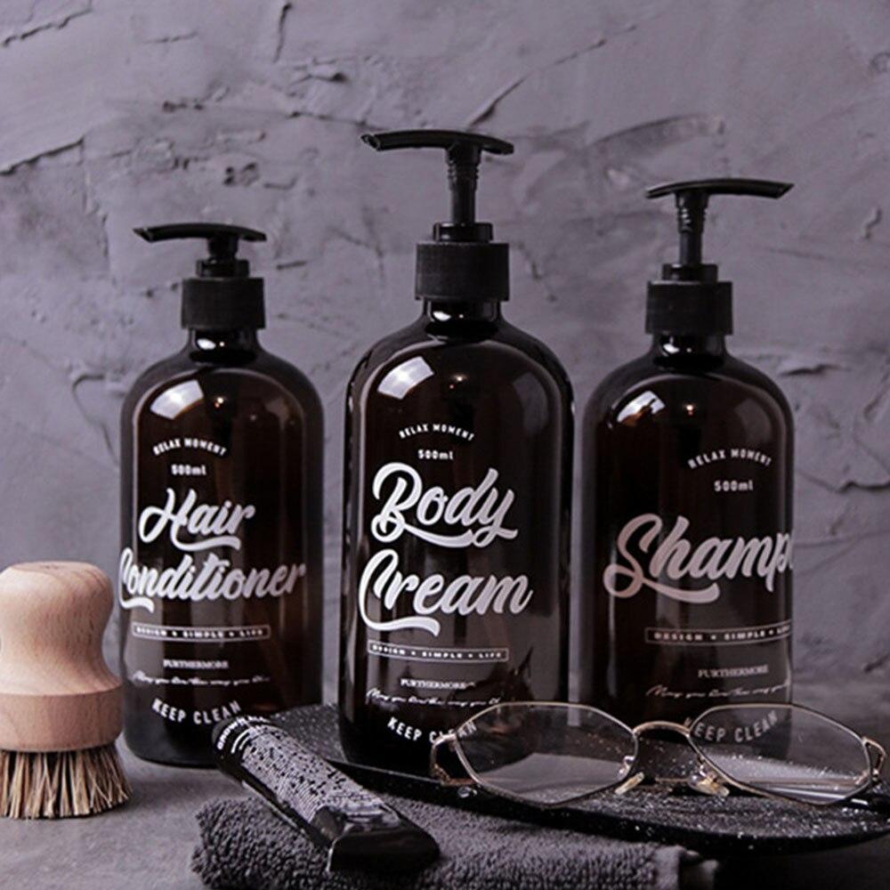 500ml Boston Glass Shampoo Bottles Simple Brown Hand Washing Body Cream Storage Bottle Nordic Bath Hair Conditioner Sub-bottle