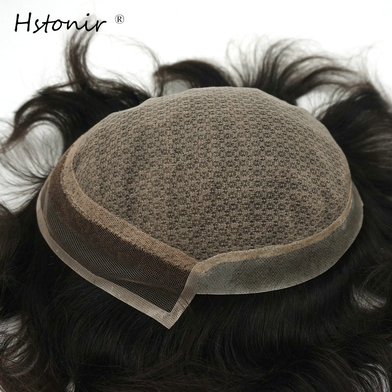 Hstonir Silk Base Toupee Men Wig Invisible Knots Human Indian Remy Hair Man System H032