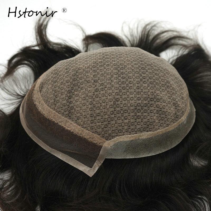 Hstonir Silk Base Toupee Men Wig Invisible Knots Human Indian Remy Hair Man System H032