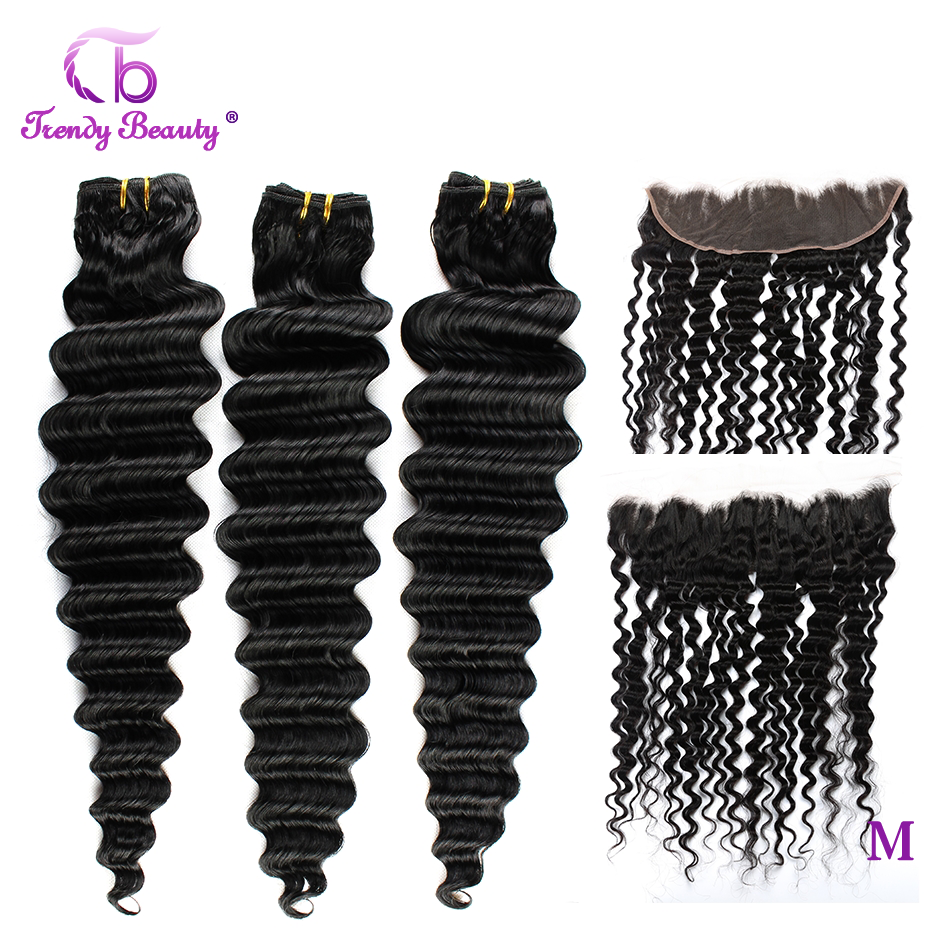 Trendy Beauty Brazilian Deep Weave Bundles With Frontal Pre-plucked Human Hair 3 Bundles With 13x4 Inches Frontal Non-remy 4PCS