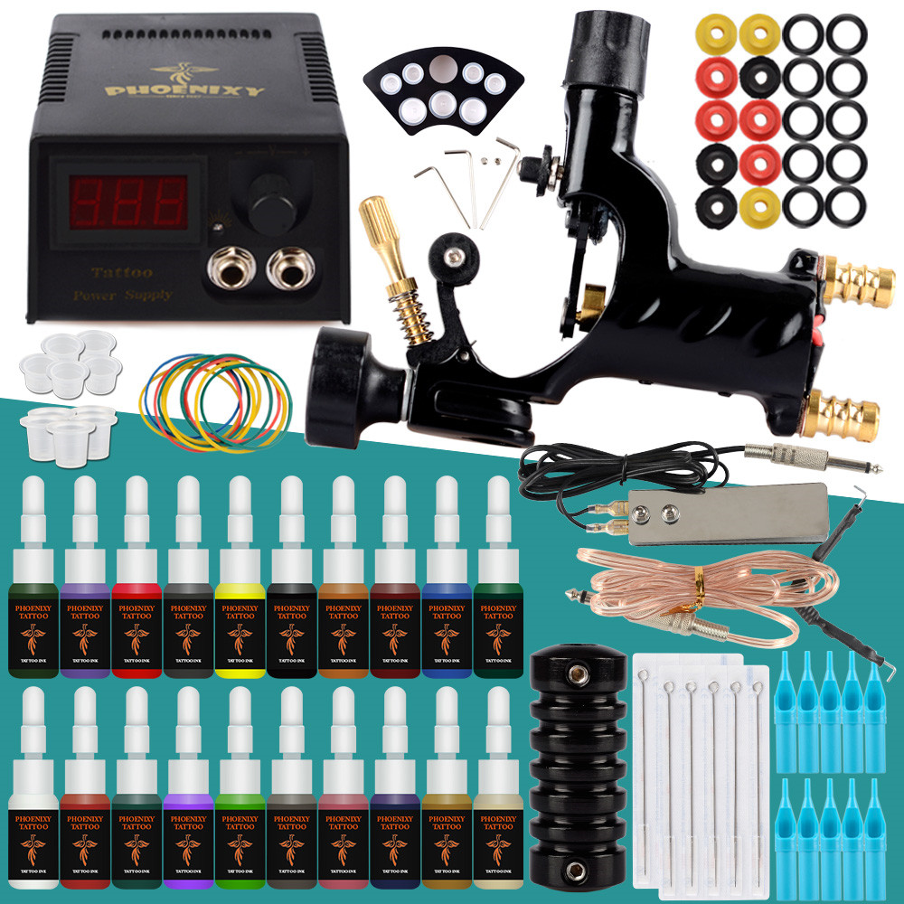 Tattoo Machine Kit 1 Rotary Machine Gun Supply Power 20 Colors Inks Pigment Needles Tattoo Accessories For Completed Tattoo Set