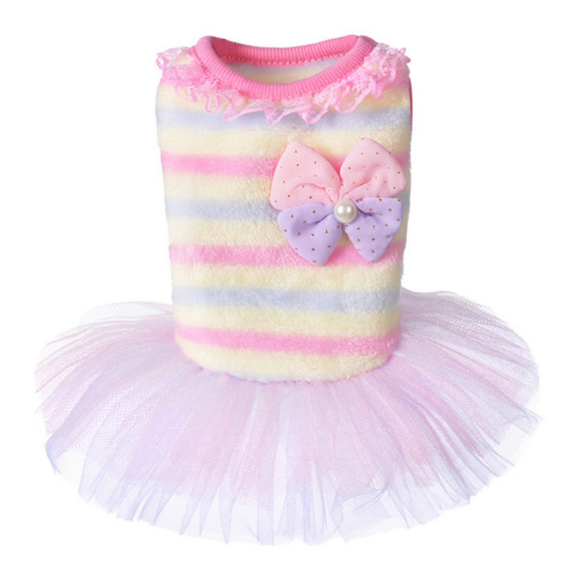 Summer Pet <font><b>Dress</b></font> Striped Chihuahua Princess <font><b>Dog</b></font> <font><b>Dresses</b></font> Noble <font><b>Dresses</b></font> For <font><b>Dogs</b></font> Suitable Pet Cat Clothes image