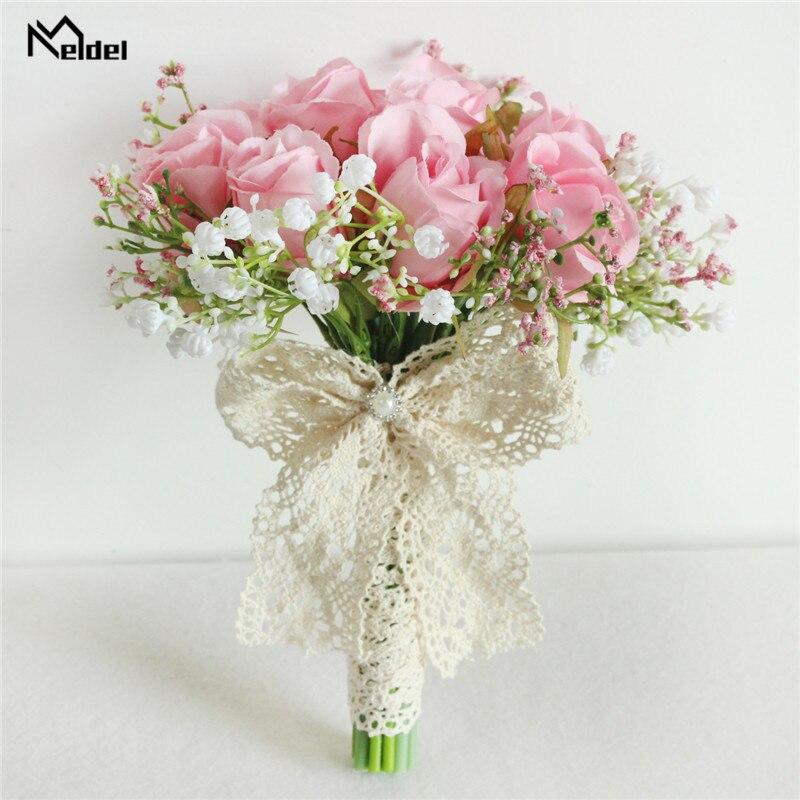 Meldel Bouquet Bride Wedding Bouquet Flower Artificial Silk Rose Babys Breath Bridesmaid Sister Wedding Flower Bouquets Decor