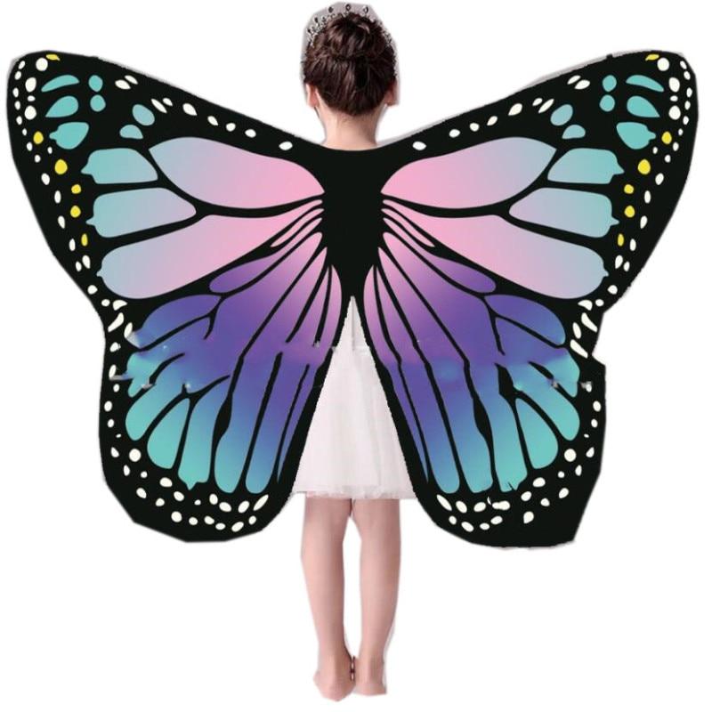 Мягкая ткань бабочка крыло шаль Феи дамы Nymph Pixie костюм аксессуар Дети Крылья выступления синий оранжевый
