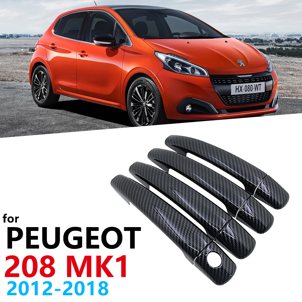 Gloss Black Carbon Fiber Car <font><b>Door</b></font> <font><b>Handles</b></font> Cover Trim for <font><b>Peugeot</b></font> <font><b>208</b></font> MK1 2012~2018 Car Accessories Sticker Styling GTI Active image