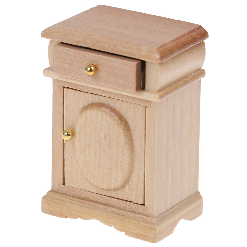 Dollhouse Miniature Unpainted Nightstand Side Table With Drawer 1:12 Scale